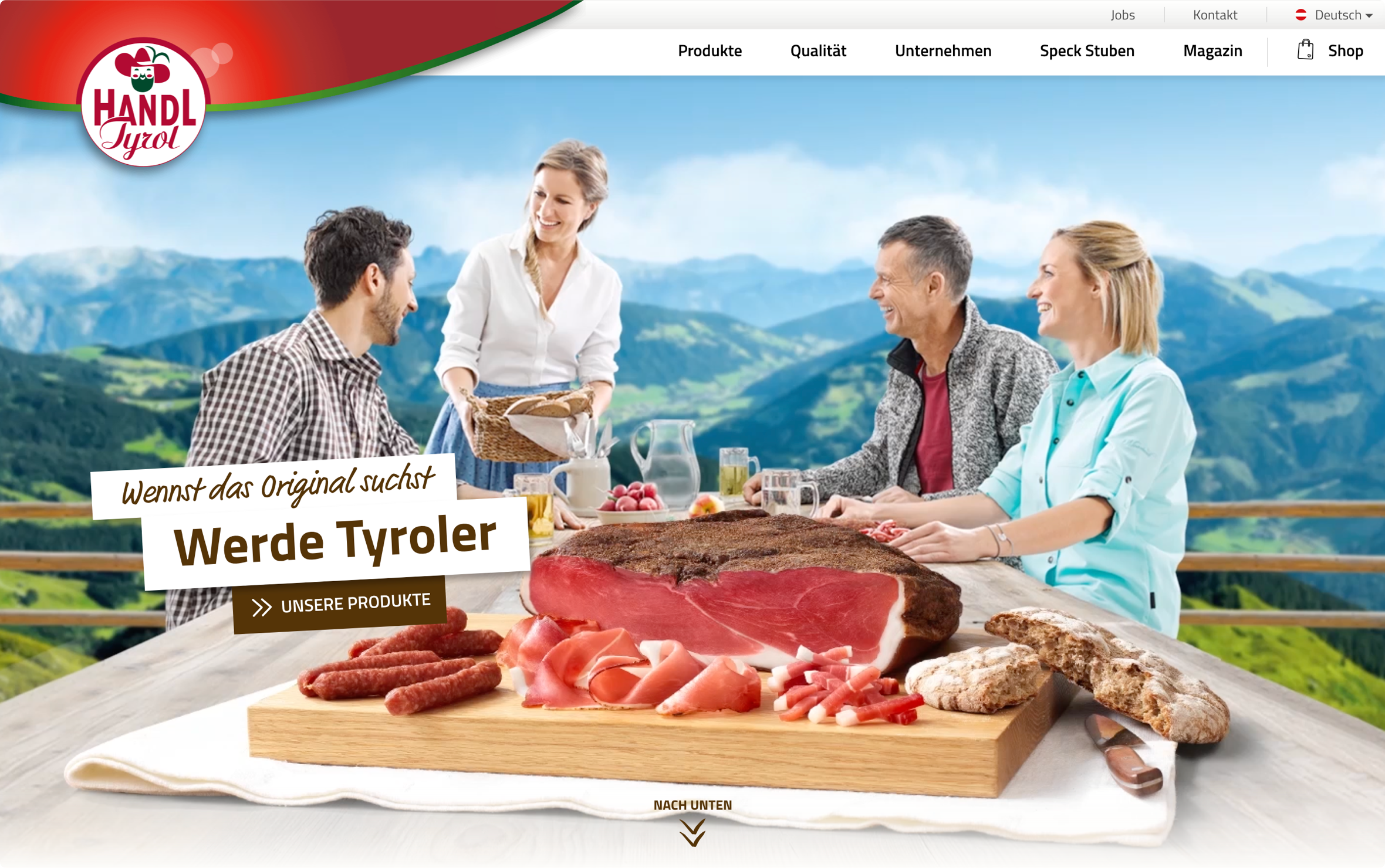 Handl Tyrol Website Relaunch Header