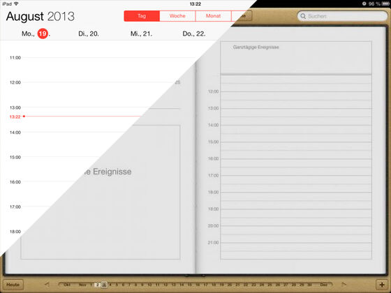 Flat-Design iOS Vergleich Kalender