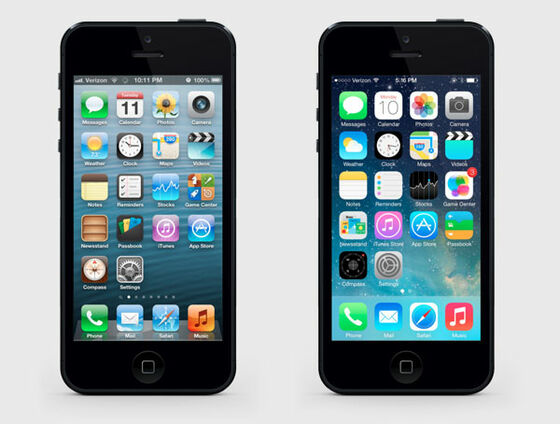 Flat-Design iOS Vergleich iPhone