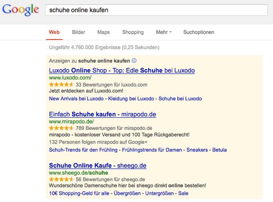 Google AdWords Verkäuferbewertungen