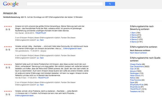 Verkäuferbewertung amazon.de