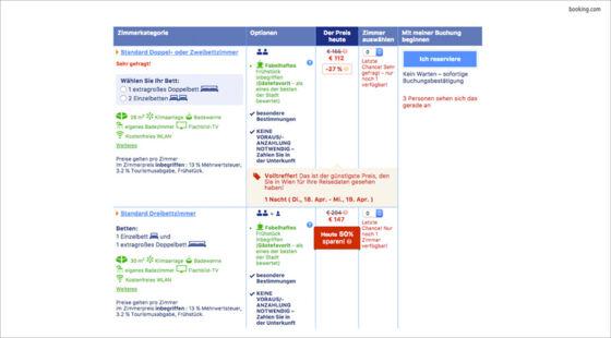 Behavior Patterns - Booking.com zeigt rare Zimmer an MASSIVE ART
