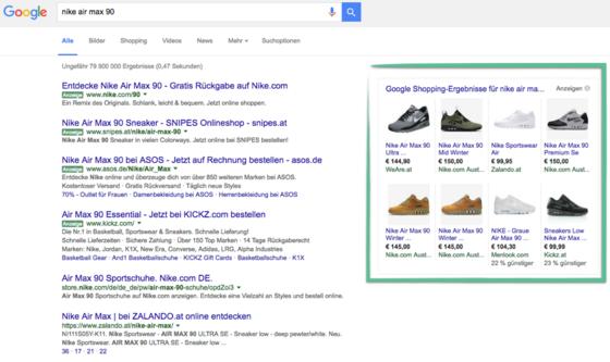 Google Shopping Ergebnisse am Beispiel des Produktes «Nike Air»