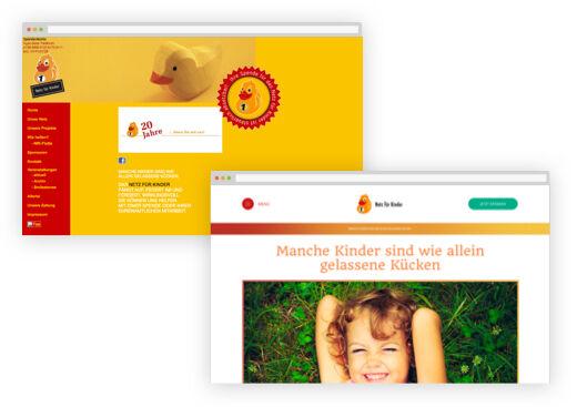 Die neue Website (unten) präsentiert sich im Vergleich zur früheren Seite strukturiert, klar und freundlich.