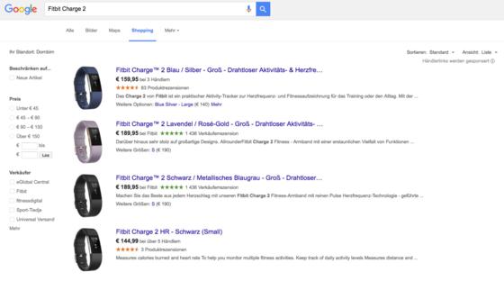 """Unter dem Tab """"Shopping"""" zeigt Google eine Übersicht relevanter Produkte"""